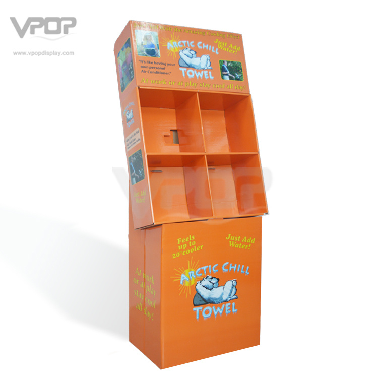 4 Compartments Cardboard Floor Display Rack for Towel