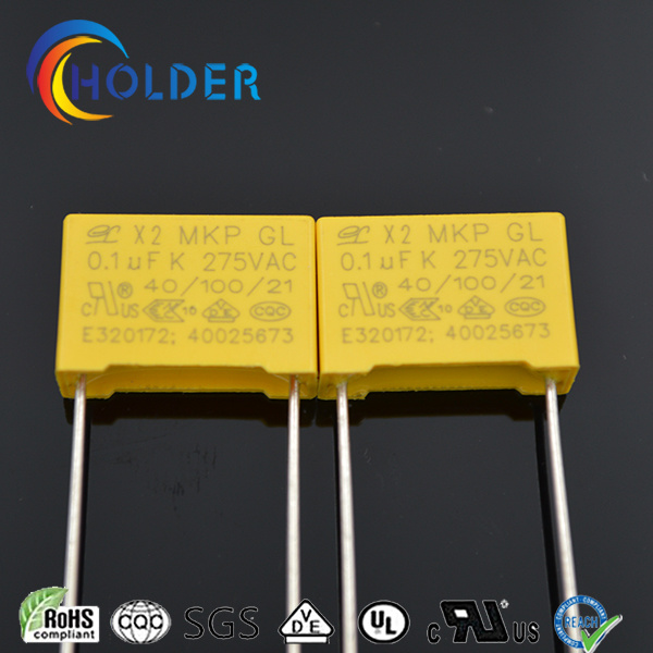 Metallized Polypropylene Safety Capacitor (104k/275VAC RoHS Reach) X2 Yellow Capacitor