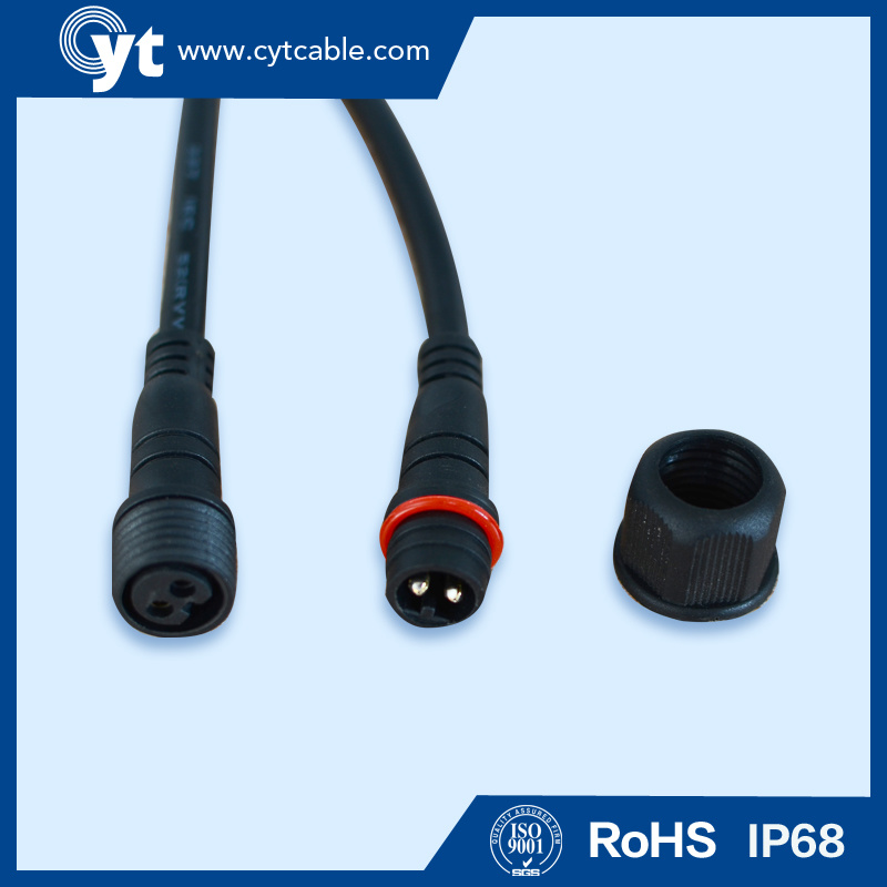 M 19m Black Waterproof Cable with Male & Female 2 Pin Connector