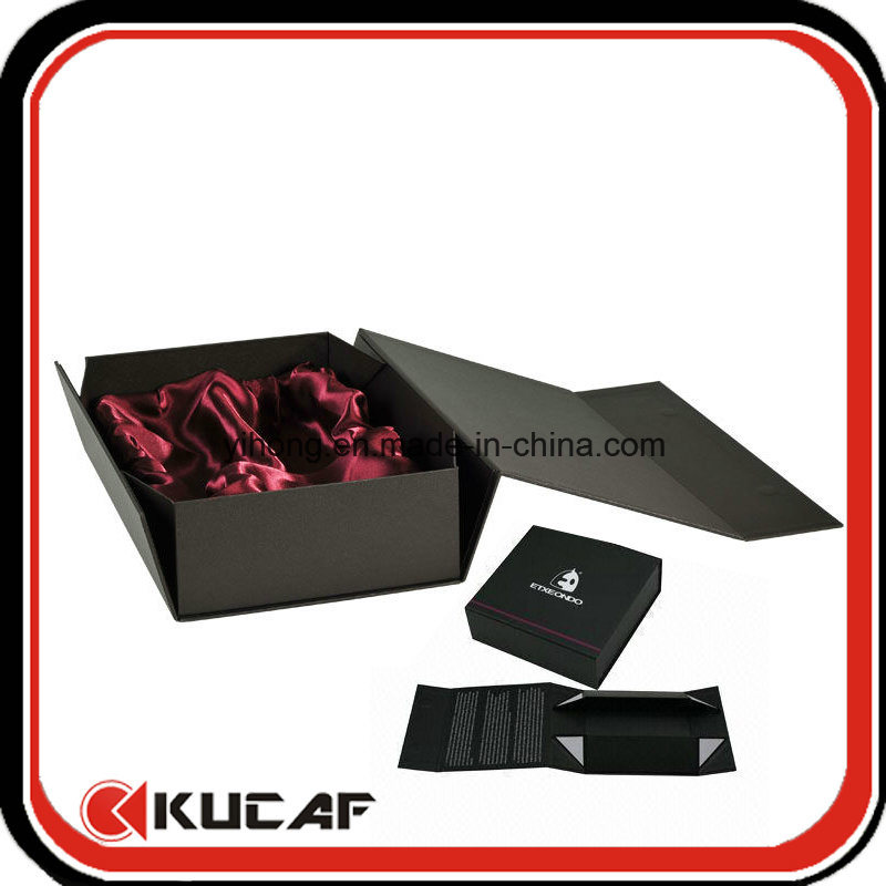 Custom Print Paper Cardboard Flat Folding Black Magnetic Gift Box with Ribbon