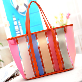 2017 New Arrival Transparent Hand Bag Colorful Beach Tote Large Bag Hcy-5071