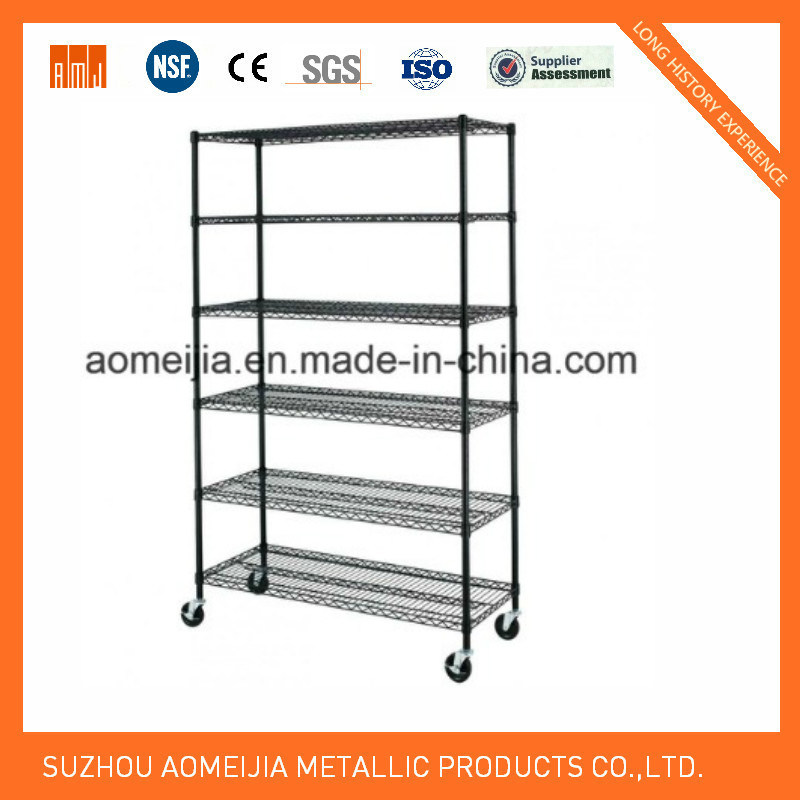 6 Tier Black Wire Rack with 3′′ Wheels
