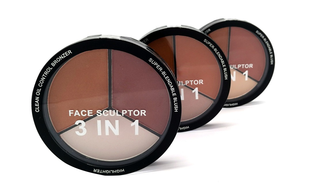 New 3 in 1 Preminium Face Sculptor Palette with Clean Oil Control Bronzer, Super-Blendable Blush, Highlighter