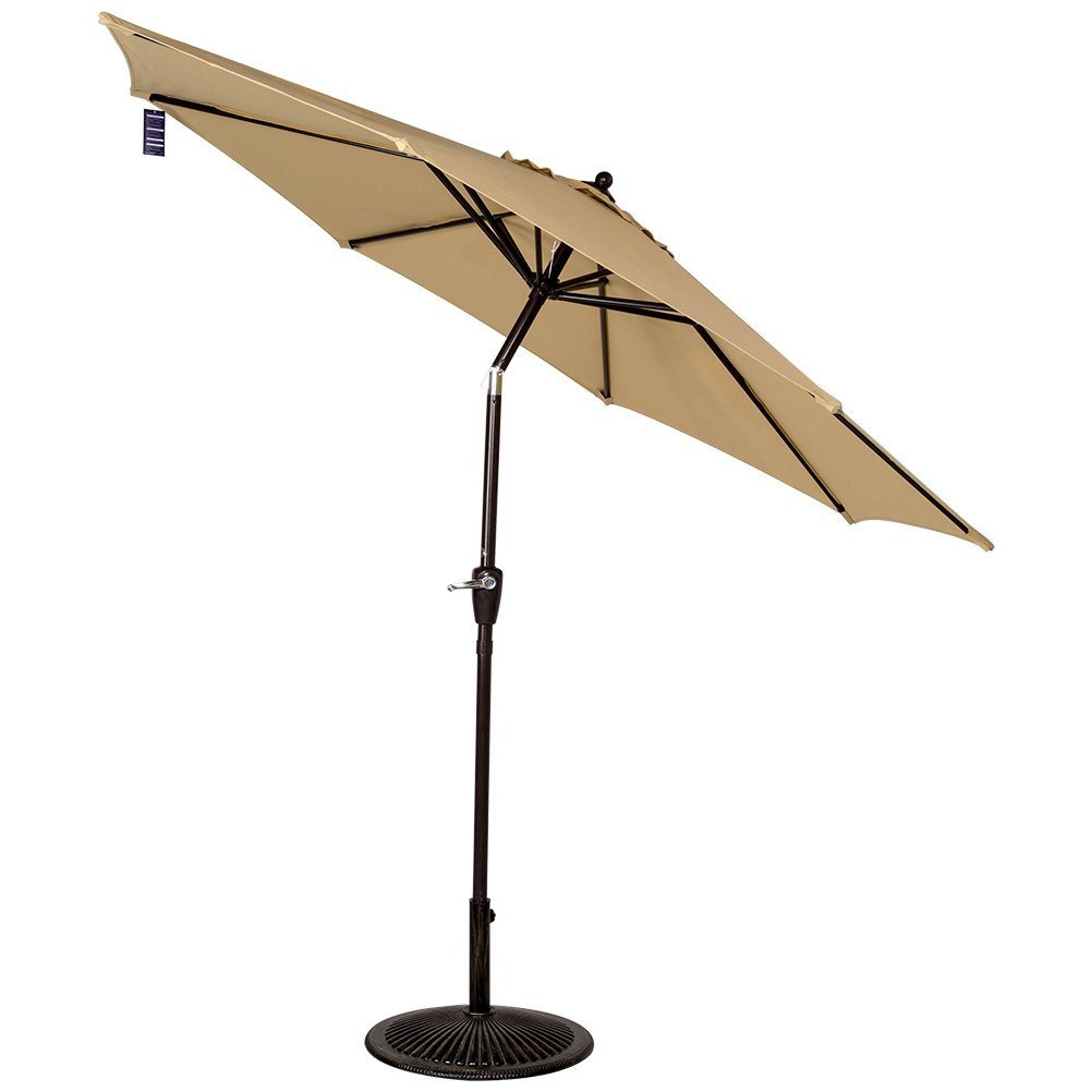 Outdoor 8.2 FT Olefin Fabric Solution Dyed and UV Resistant Patio Garden Outdoor Market Umbrella with Auto Tilt and Crank, Earth Yellow
