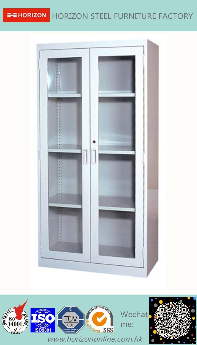 Double Swinging Steel Framed Glass Doors Storage Cabinet