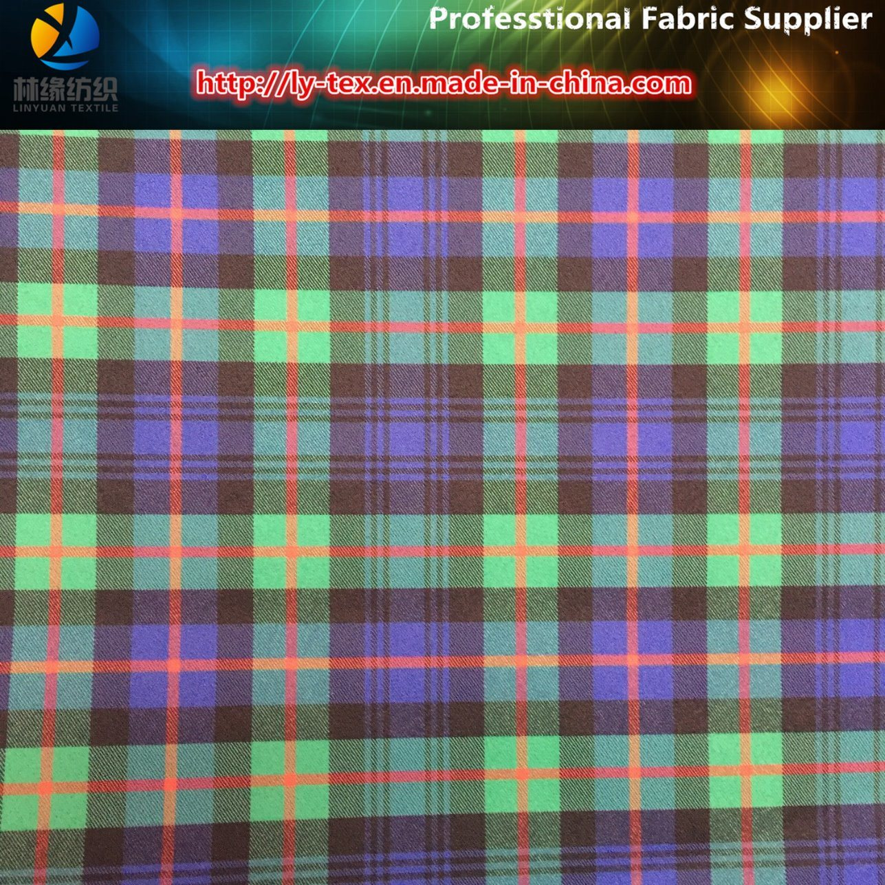Polyester Twill Yarn Dyed Check Spandex/Elastic Shirting Fabric for Garment/Trousers (YD1114)