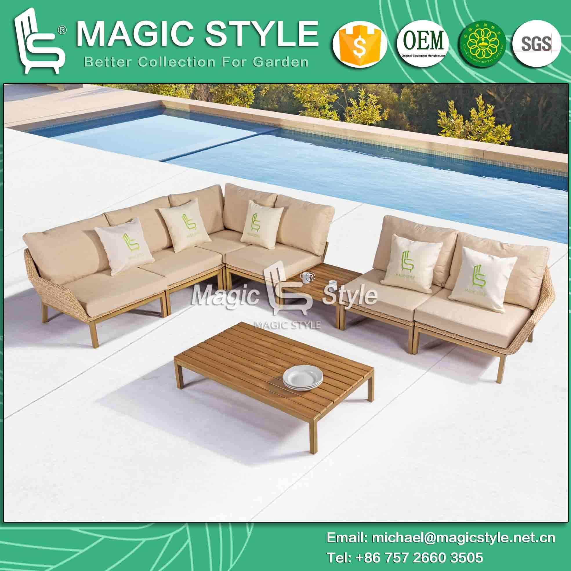 Wicker Sofa with Cushion Rattan Sofa Set with Pillow Outdoor Furniture by Weaving