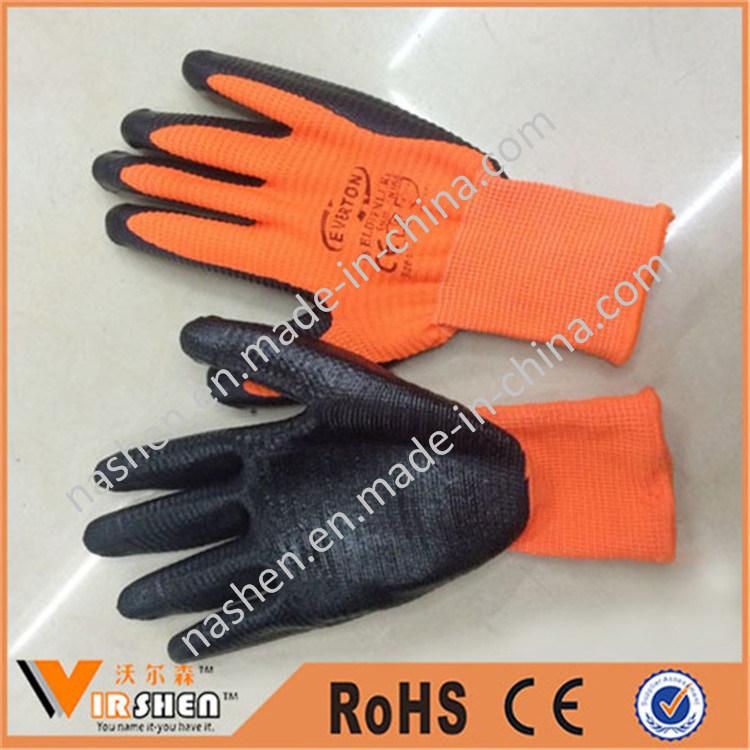 Cheap Colored Zebra-Stripe Nitrile Coated Nylon Gloves