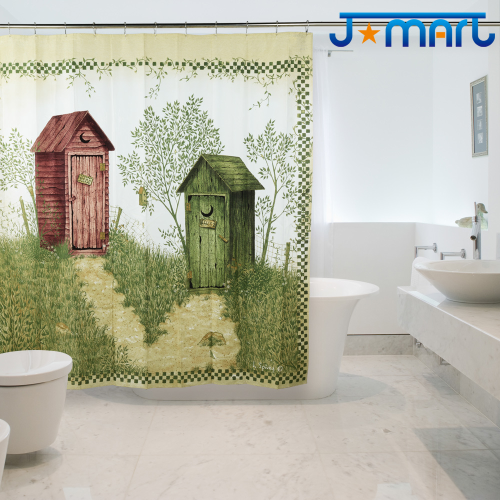 Outhouse Eco-Friendly Water-Resistent Polyduck High-Density&Nbsp; Polyester Fabric Shower Curtain