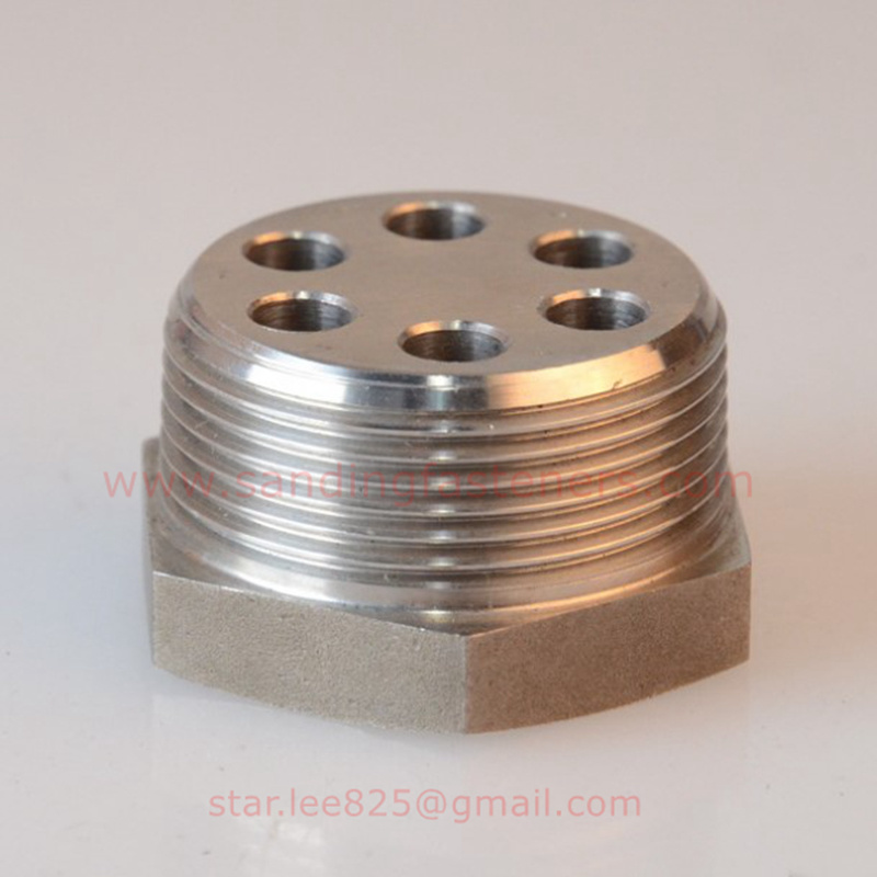 Stainless Steel Hex Head Hydraulic Fitting with 6 Hole / Flare Tube Fitting