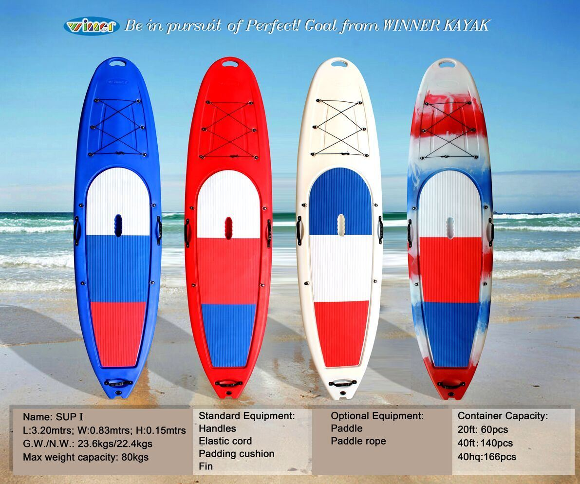 Single Plastic Sports Sup Stand up Paddle Board
