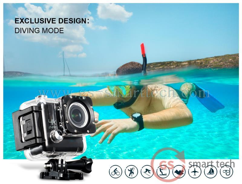 Gyro Anti Shake Function Ultra HD 4k Sport DV 2.0′ Ltps LCD WiFi Sport DV Underwater Camera
