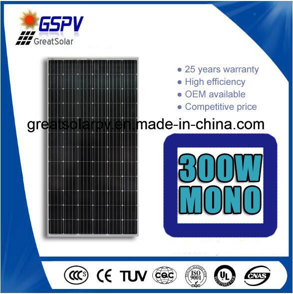High Efficiency Mono Solar Panel 300W-345W with TUV, Ce, ISO, CQC