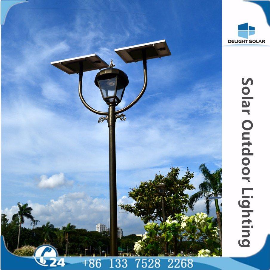Manufacturer Ce/RoHS/FCC Single/Double Lamp Park Solar LED Garden Outdoor Lighting