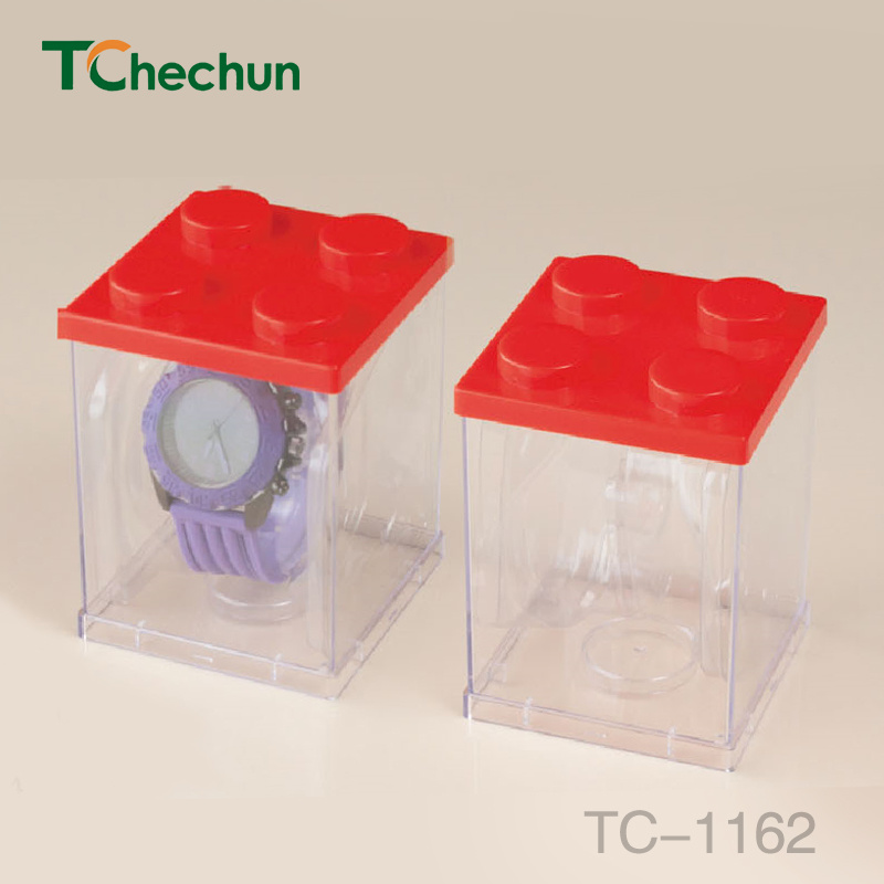 Both Sides and Four Sides Transparent Square to Build Model Watch Plastic Box