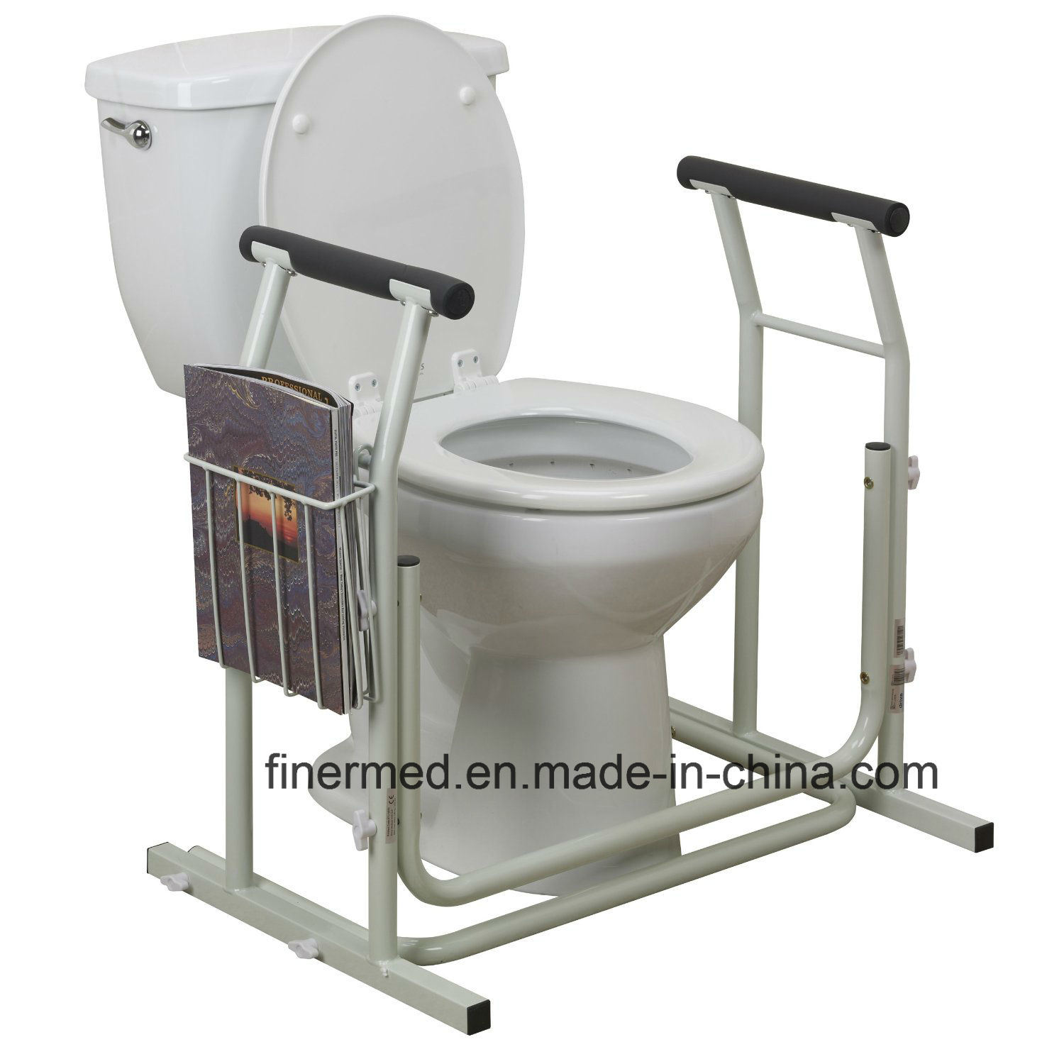 Stand Alone Toilet Safety Rail with Magazine Rack