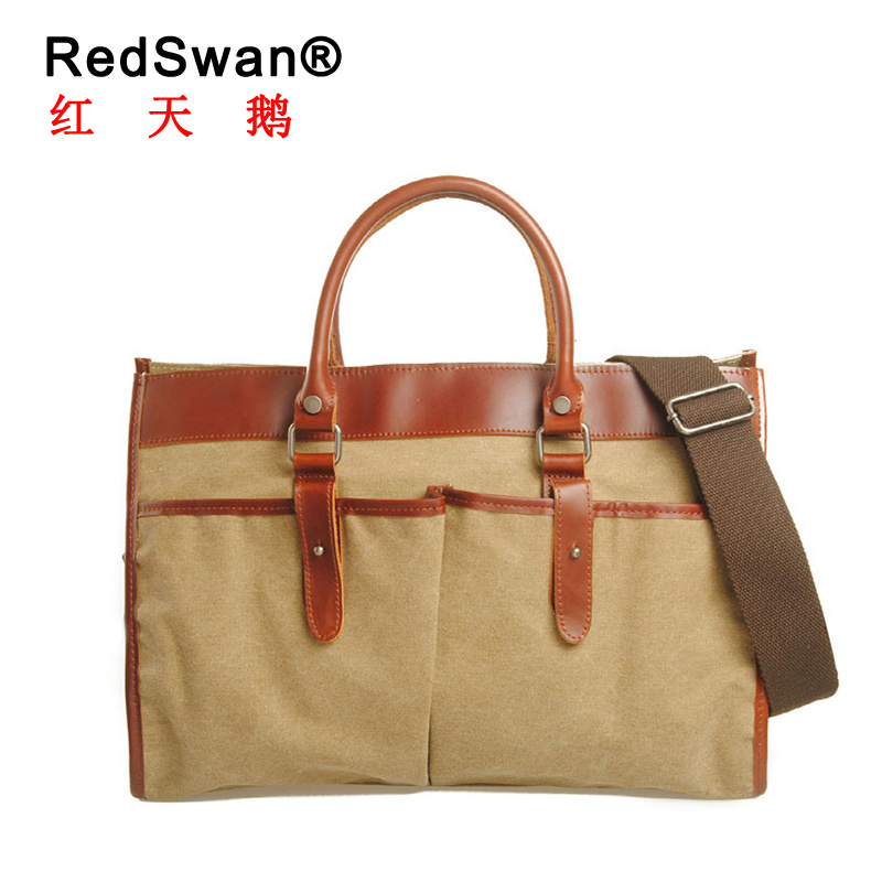 Fashion Designer Canvas Hand Bag Genuine Leather Fashion Designer Handbags (RS-880)