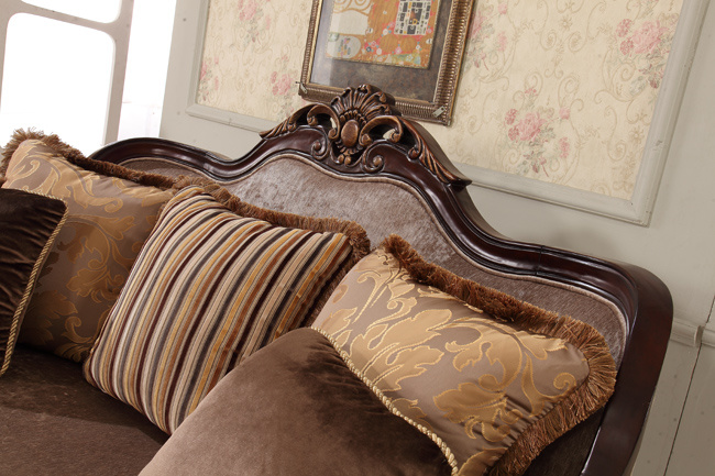 Classical Wooden Fabric Sofa with Antique Table for Living Room