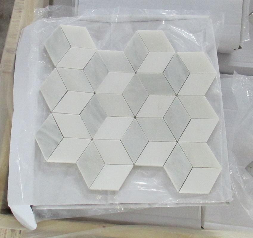 New Design Oriental White Marble Mosaic Tile Rhombus Marble Mosaic Tile