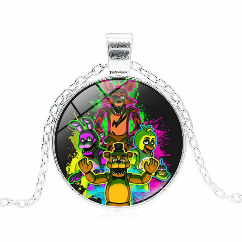 Five Nights at Freddy′s Glass Gem Time Pendant Necklace Freddy Fazbear Jewelry Cosplay