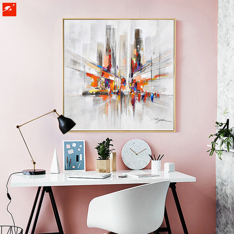 City Downtown New York Urben Street Oil Painting