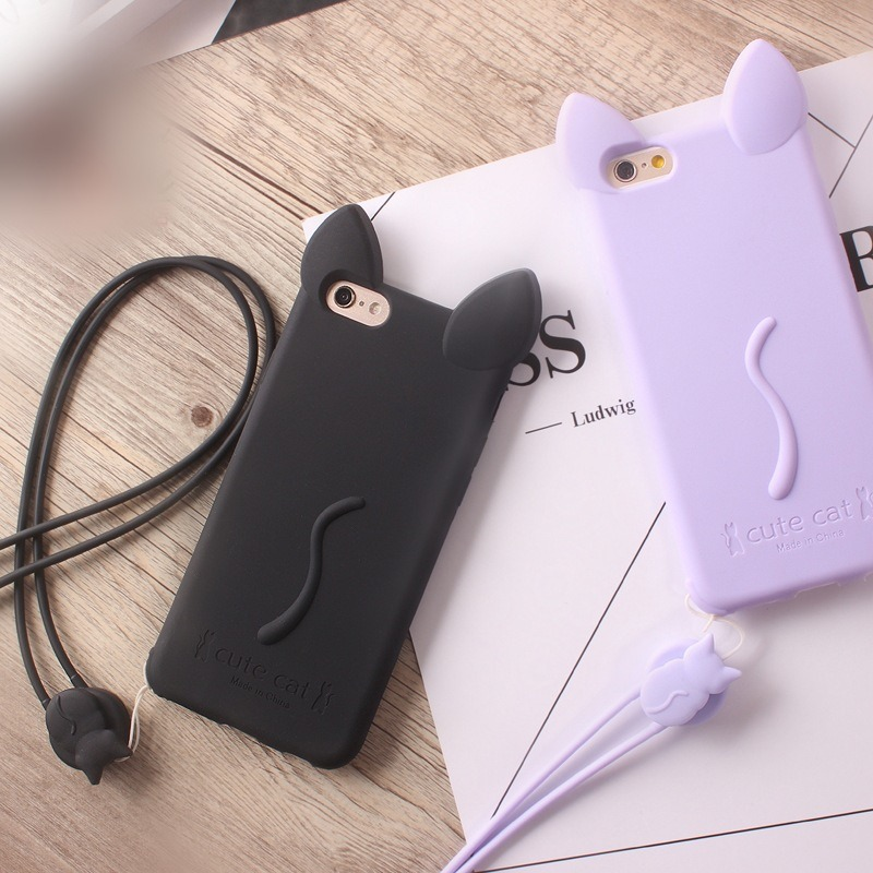 Cute Cat Soft TPU with Layard Phone Case for iPhone