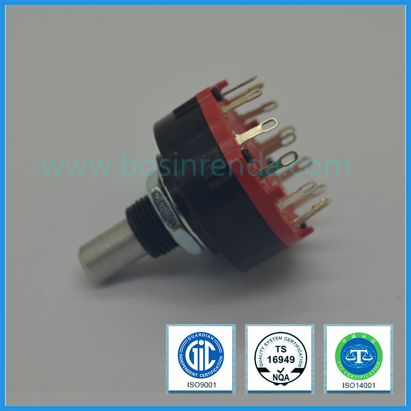 Rotary Switch with Long Insulated Shaft and Lock Washer for Washing Machine