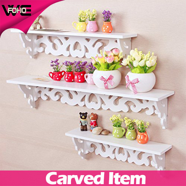 Modern Filigree Style Carve White Wooden-Plastic Wall Shelf for CD Book Display