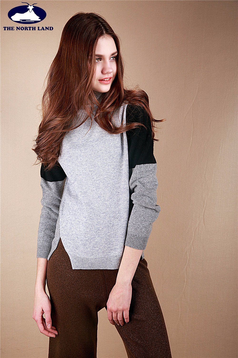 Cashmere Blocked Pullover Women Sweater-Cashmere Sweater