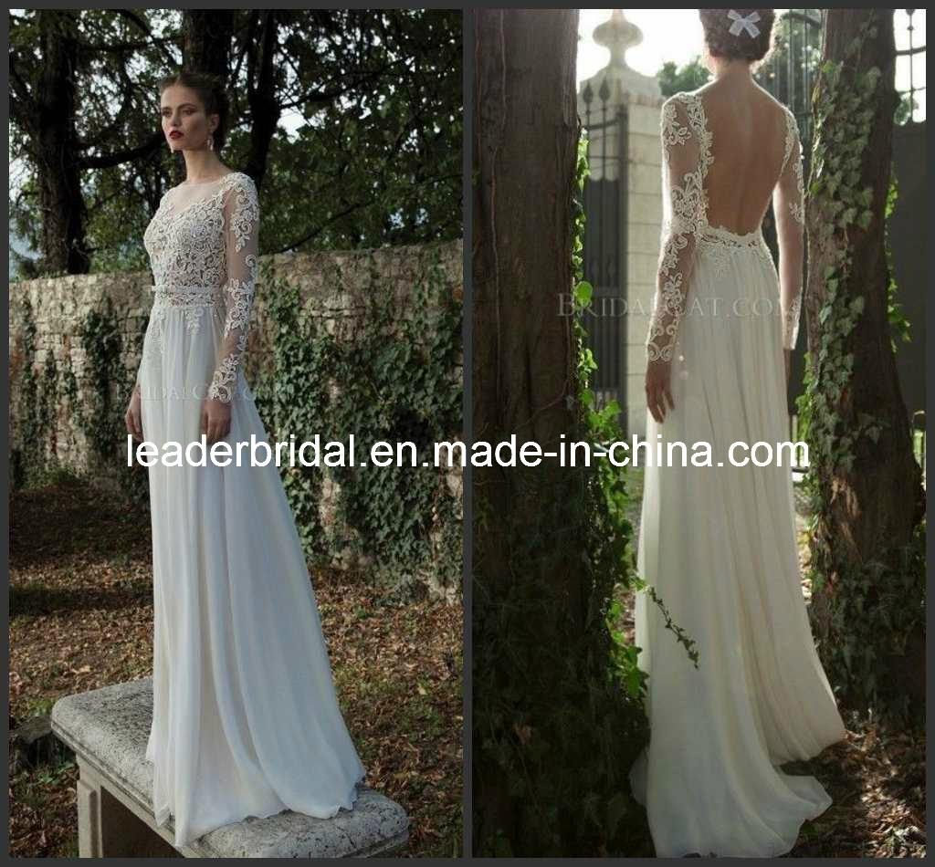 China Sheer Sleeves Open Back Lace Chiffon Bridal Wedding