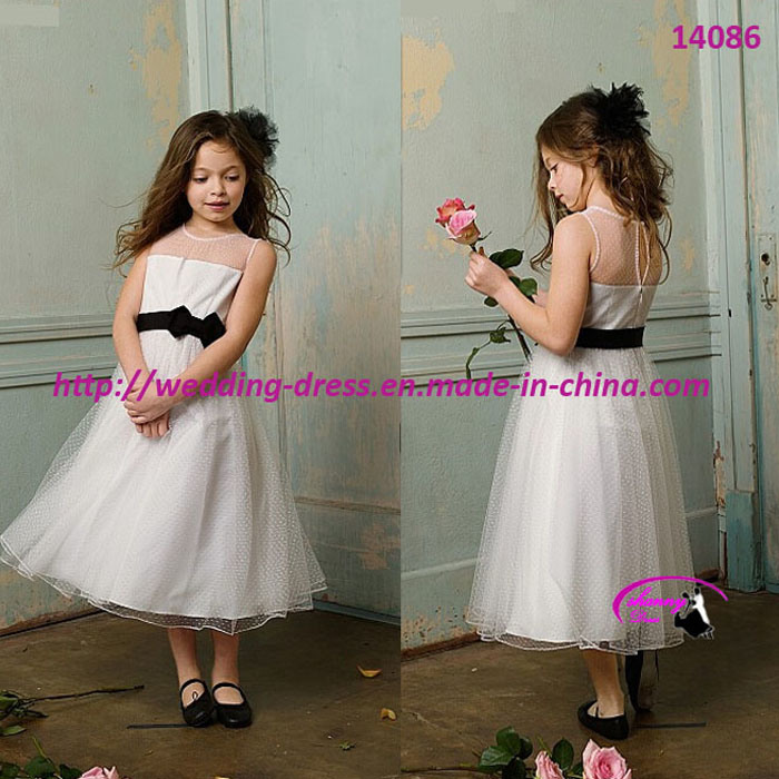 New Lovely Princess Flower Girls Dress with Tea Length