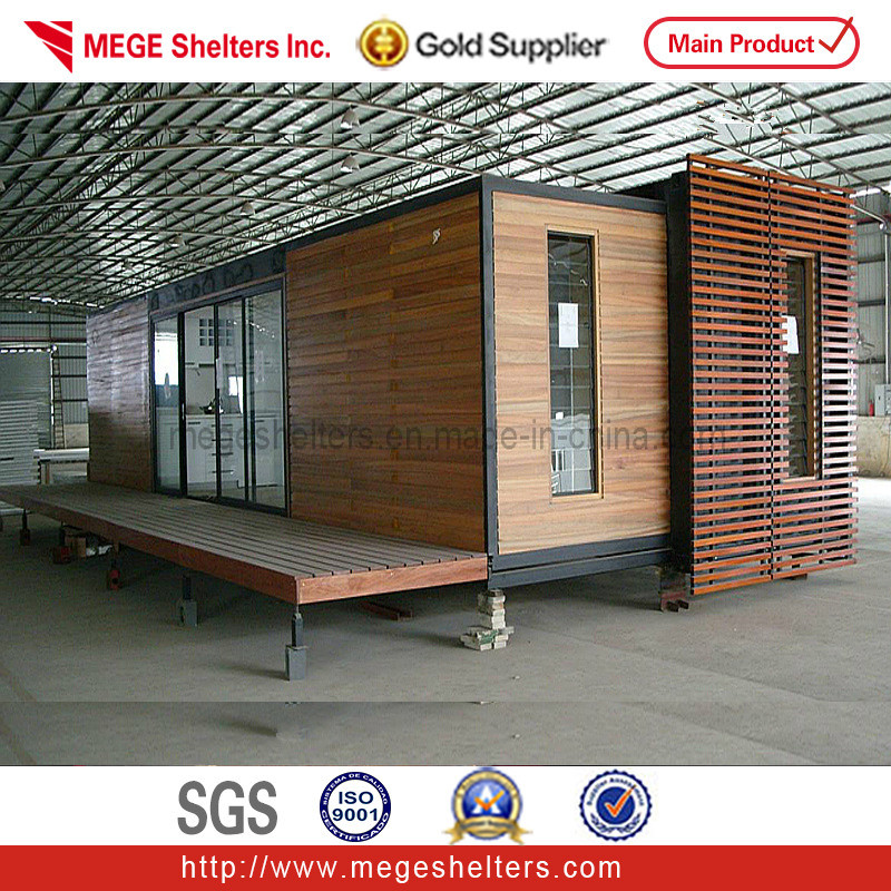 China 40ft Container Houses With Wood Cladding Decoration