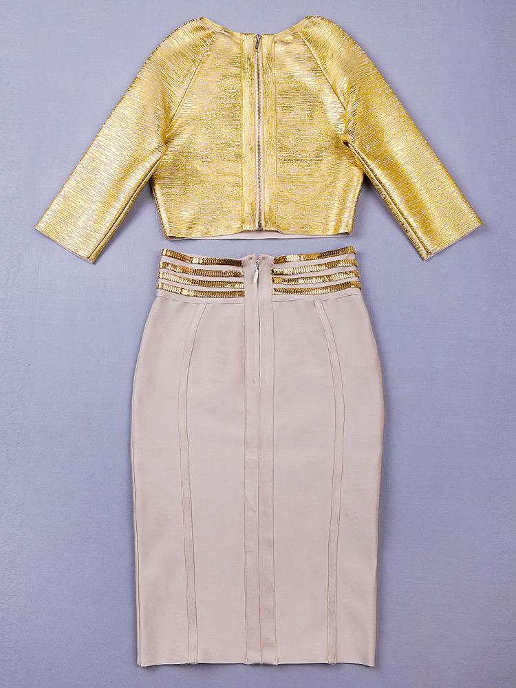 Pure Apricot Fashion Cocktail Bandage Dress &Gold Blouse