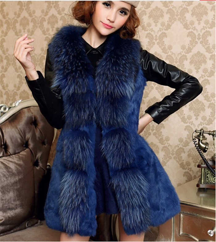 Hot Selling New Style Genuine Rabbit Fur Vest Qy-V05