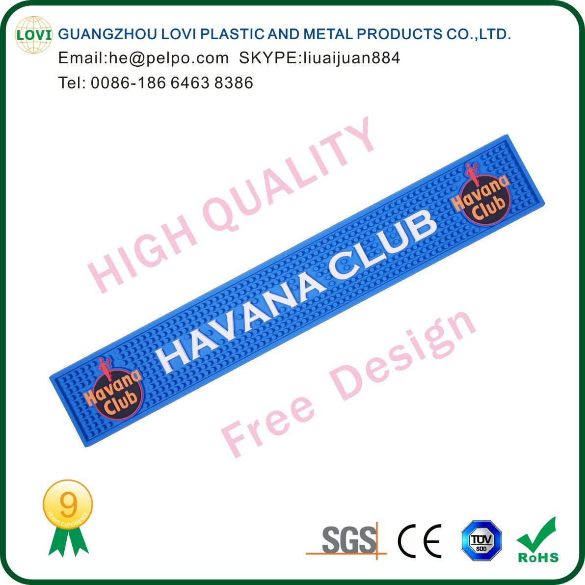 Free Design High Quality 3D Custom Logo PVC Bar Beer Mat