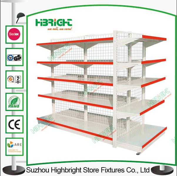 Peforated Super Market Metal Display Shelf Shop Shelving Racks