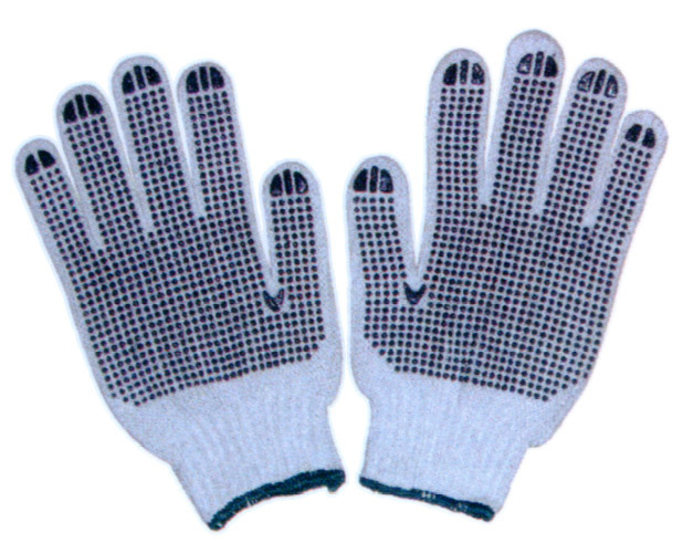Cotton Gloves with PVC Dotted CE Approved