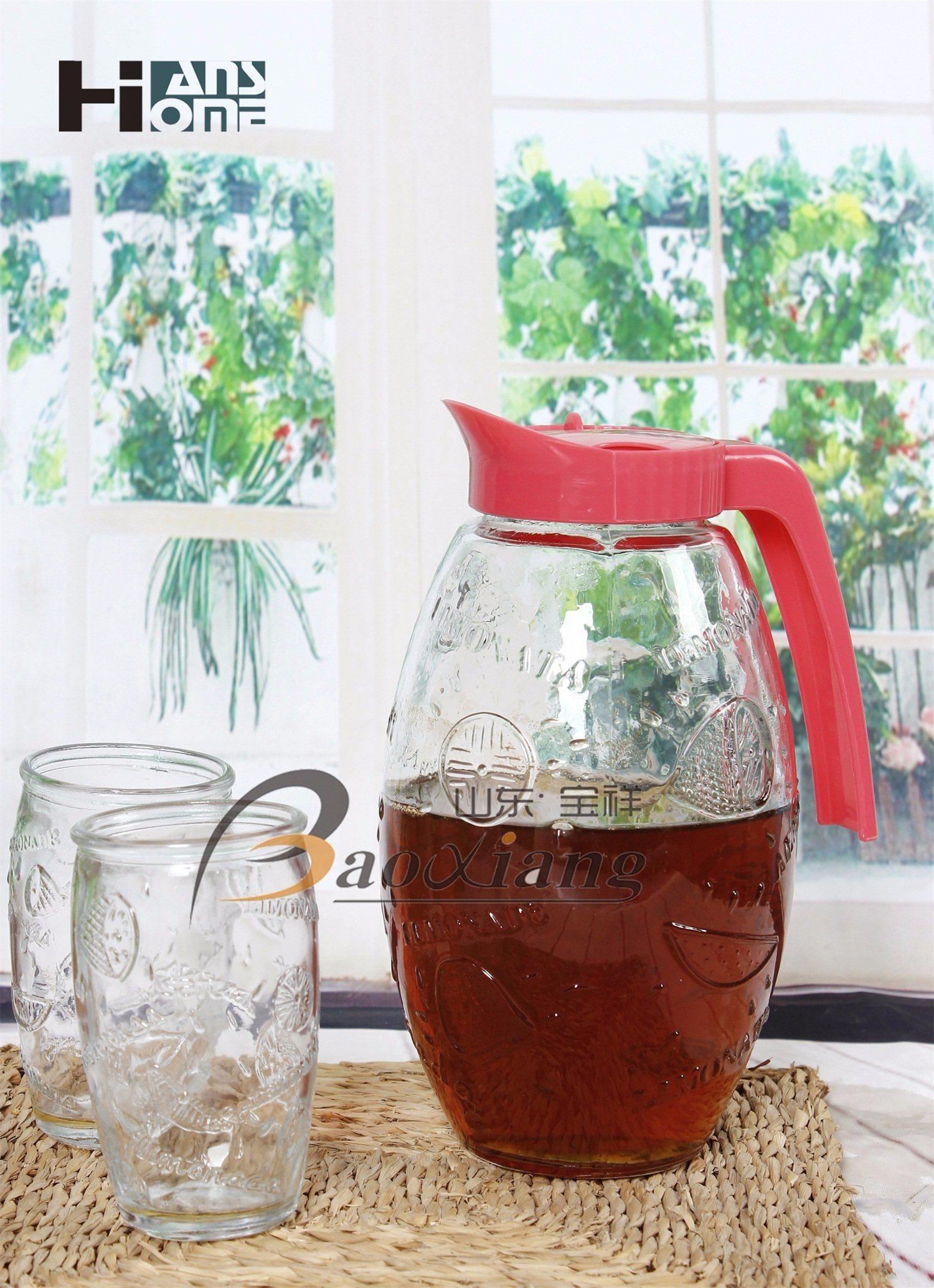 5 Piece Set Juice Milk Tea Water Glass Bottle with Beautiful Plastic Lid