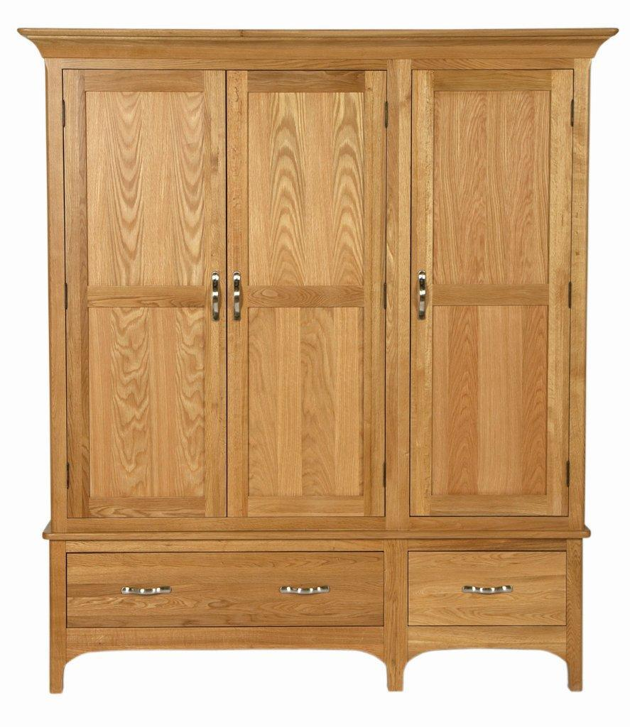 China solid oak gents triple wardrobe with two drawers