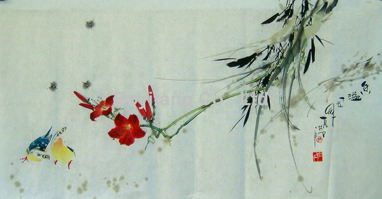 Chinese painting and calligraphy landscape
