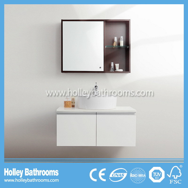 Modern Wood MDF Bathroom Furniture Glass Craft with Storage Cabinet (BF140D)