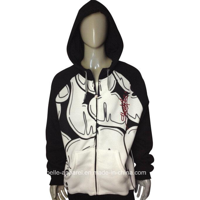 Fashion OEM Service Men′s Print Fleece Hooded Jacket