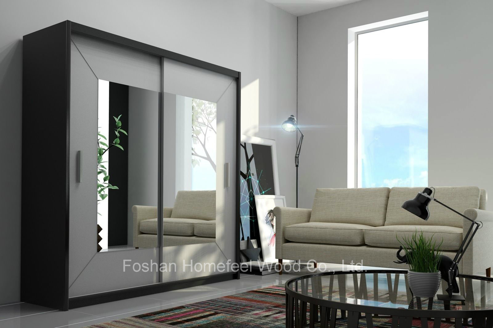 China Black Frame White Sliding Doors Wardrobe With Square Mirror HF EY0731A  on L Shaped Desk