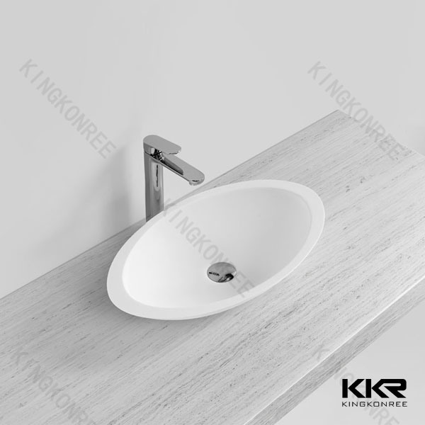 China Solid Surface Above Counter Round Wash Basin for Hotel