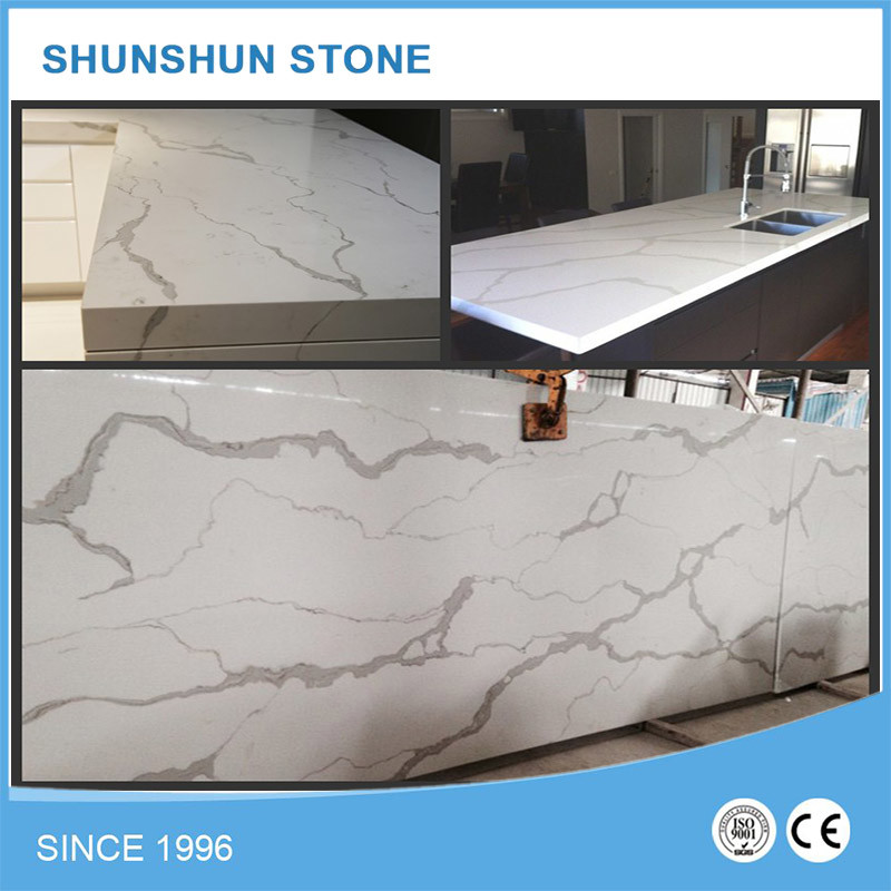 Artificial Stone White Calacatta Quartz Slab for Countertop