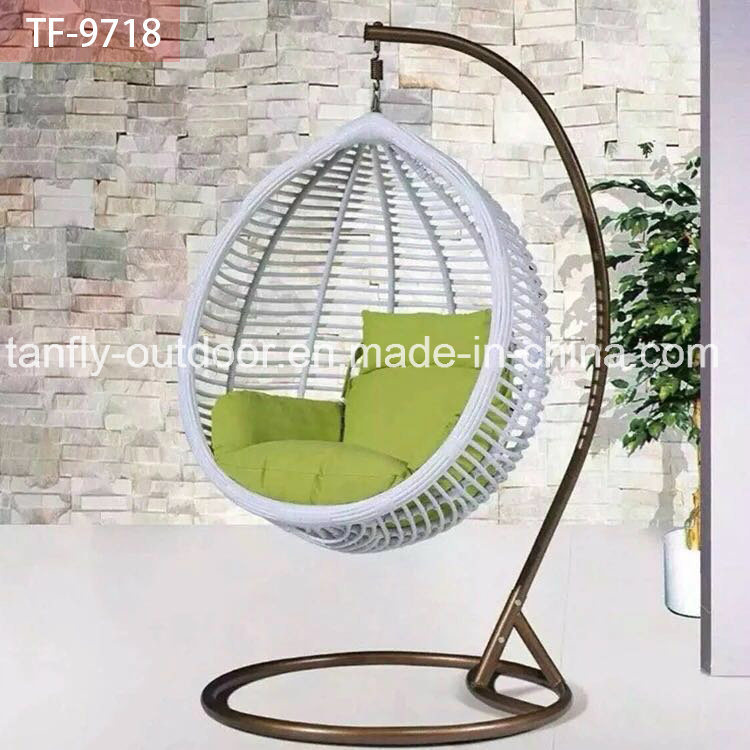 China New Design Balcony Big Round Rattan Swing Chair With Stand   China  Wicker Swing Chair, Garden Swing Chair