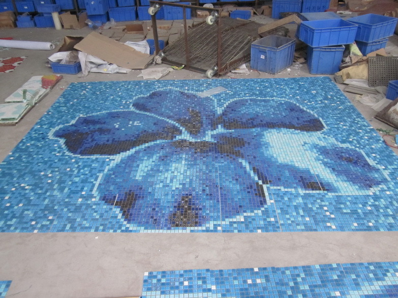 Blue Color Various Use Swimming Pool Glass Mosaic Blend, Glass Mosaics for Swimming Pools, Exterior Facades, Flooring