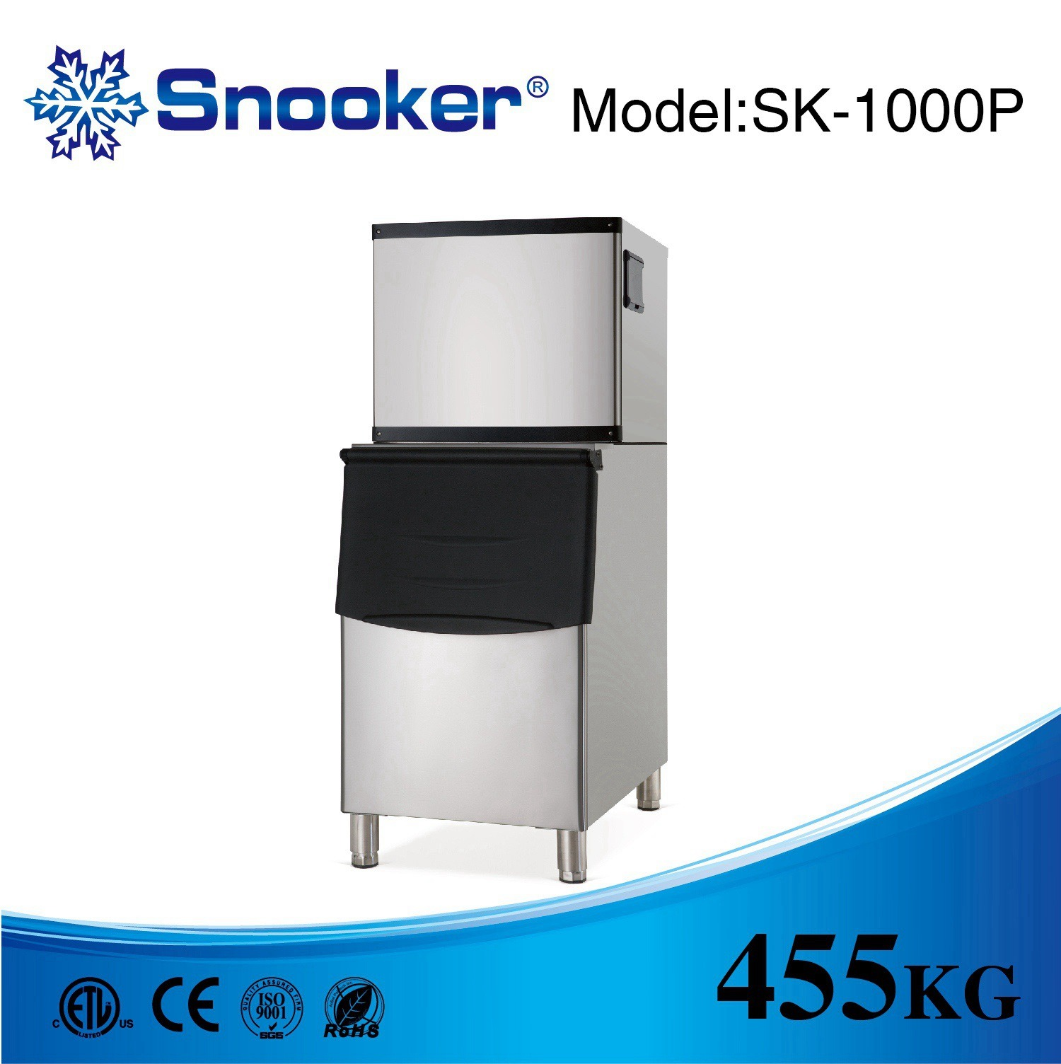 Snooker 304 Stainless Steel Commercial Ice Maker Ice Machine of 26~909kg/24h