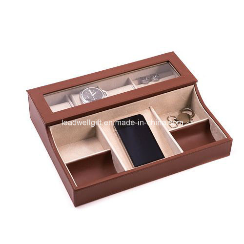 Unisex Leather Storage Valet Box for Home Office