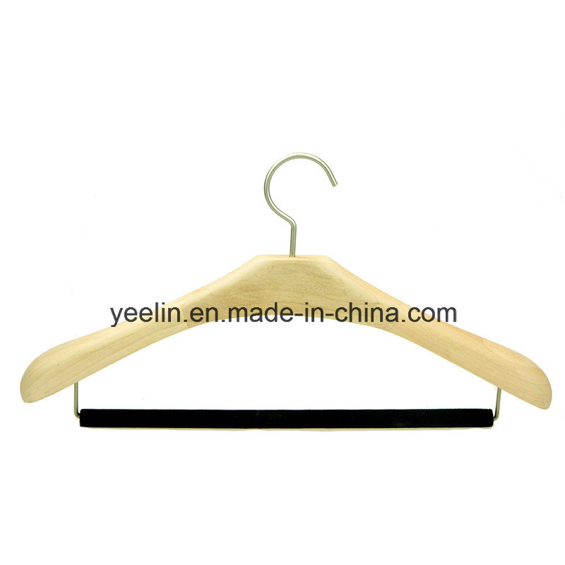 Luxury Hotel Wooden Coat / Suits Hanger with Flocking Pant Bar (YLW-a0)